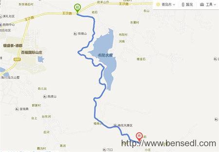 从青岛铁骑山到棉花山路线图