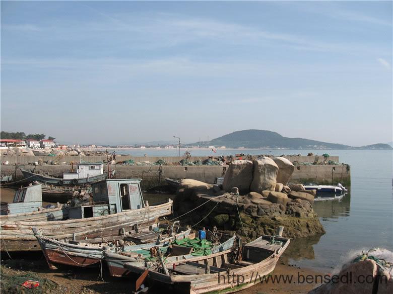 崂山渔村避风港图片