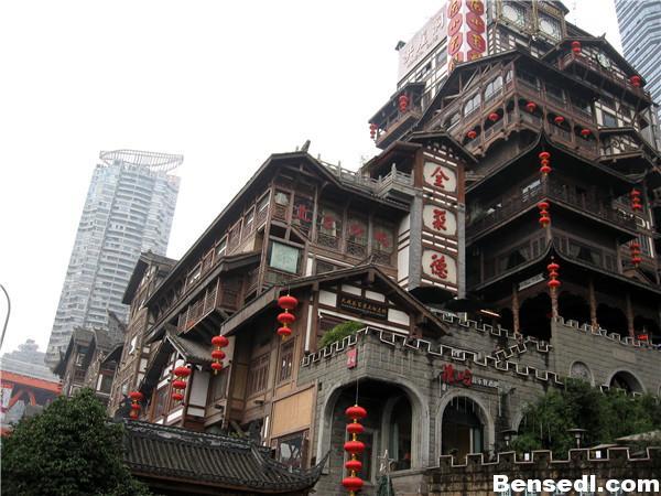 重庆洪崖洞景区吊脚楼图片1